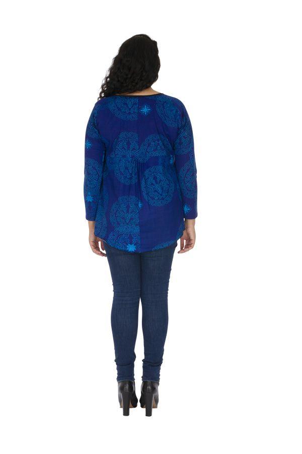 Tunique courte grande taille aux manches 3/4 Burundi bleu 313739