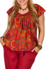 Tunique courte orange à fleurs femme grande taille 308543