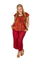 Tunique courte orange à fleurs femme grande taille 308544