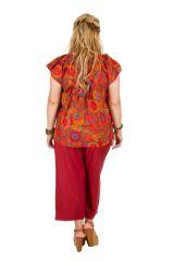 Tunique courte orange à fleurs femme grande taille 308545