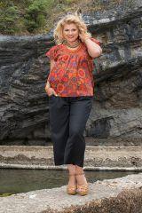 Tunique courte orange à fleurs femme grande taille 308546