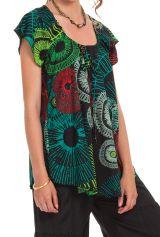 Tunique d'été à manches courtes Noire et Verte Originale et Colorée Annie 281250