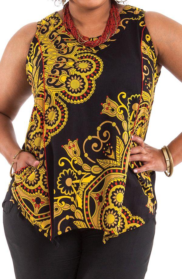 Tunique d'été courte pour femme en grande taille noire Hello 284744
