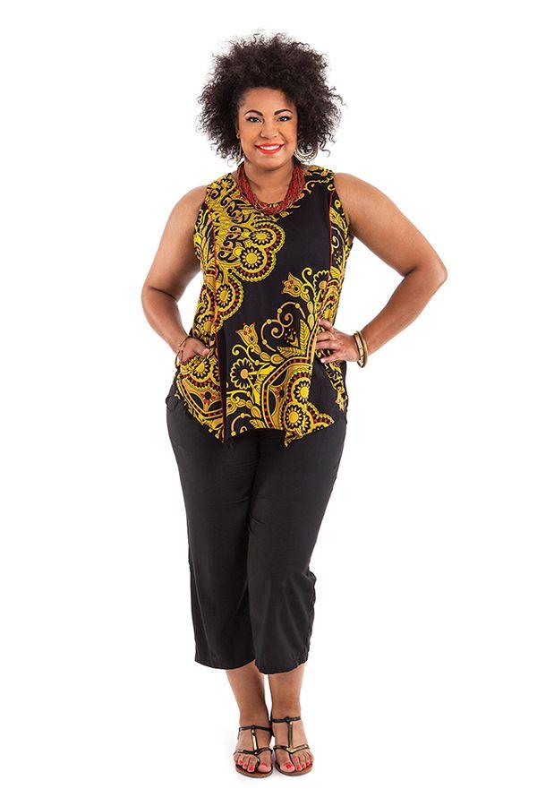 Tunique d'été courte pour femme en grande taille noire Hello 284745