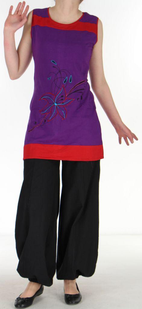 Tunique d'été du Népal sans manches Violette à col Rouge Lysea 272865