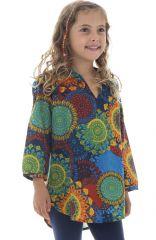 Tunique d'été enfant à imprimés colorés et originaux Bleue Lajita 294050