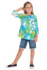 Tunique d'été enfant à imprimés originaux bleus et verts Lina 291647