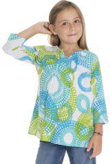 Tunique d'été enfant à imprimés originaux bleus et verts Lina 294058