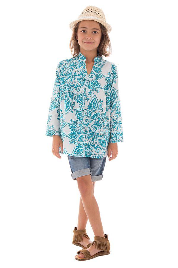 Tunique d'été enfant imprimée et originale couleur Bleue Enakshi 291643