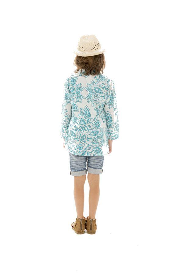 Tunique d'été enfant imprimée et originale couleur Bleue Enakshi 291644