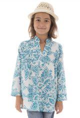 Tunique d'été enfant imprimée et originale couleur Bleue Enakshi 294052