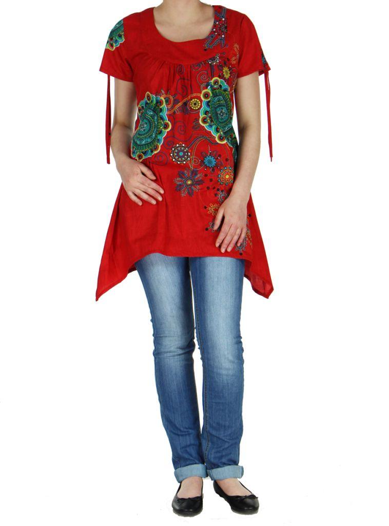 Tunique d'été imprimée rouge Erina 268493
