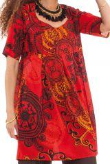 Tunique d'été pour Femme Originale et Colorée Rouge Astrid 281878