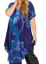 Tunique décontractée grande taille de couleur bleue Aurane