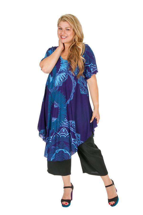Tunique décontractée grande taille de couleur bleue Aurane 306470