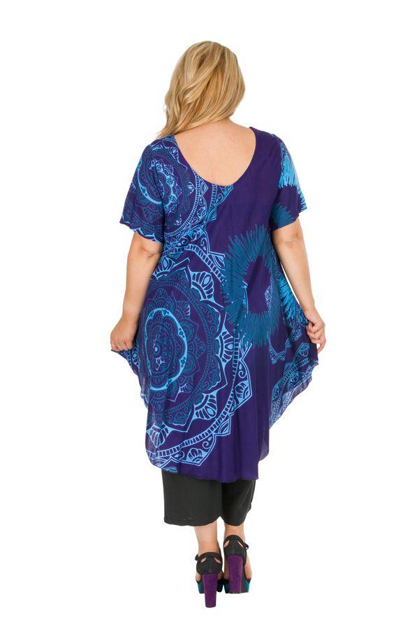 Tunique décontractée grande taille de couleur bleue Aurane 306471