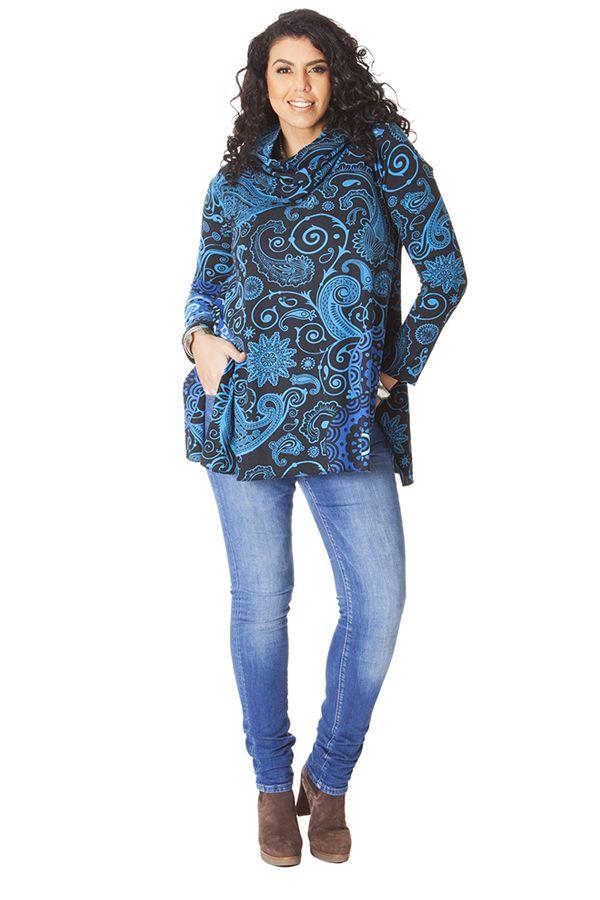 Tunique effet col roulé Grande taille Ethnique et Colorée Prisma Bleue 286488