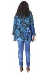 Tunique effet col roulé Grande taille Ethnique et Colorée Prisma Bleue 286489