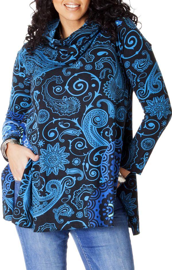 Tunique effet col roulé Grande taille Ethnique et Colorée Prisma Bleue 286740
