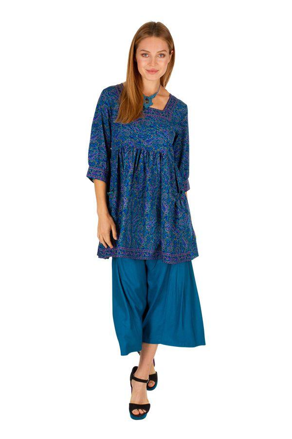 Tunique effet plissé avec un imprimé bleu et un col carré Telia 306182