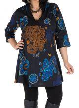 Tunique en coton colorée et manche 3/4 Noire Patchamama 302059