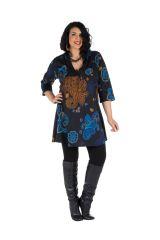 Tunique en coton colorée et manche 3/4 Noire Patchamama 302060