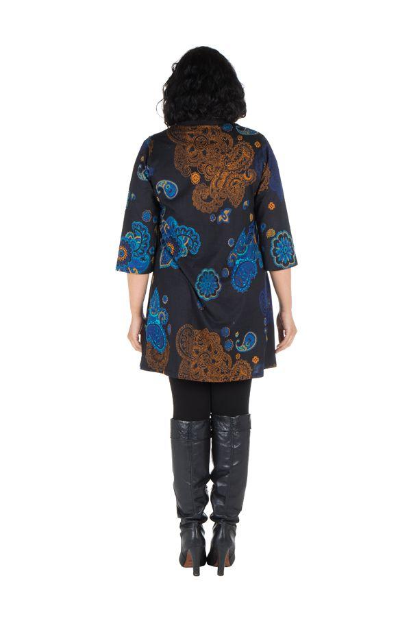 Tunique en coton colorée et manche 3/4 Noire Patchamama 302062