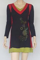 Tunique en coton fabriquée au Népal avec imprimé Noire Merytza 302446