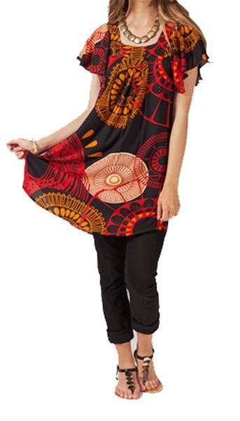 Tunique été colorée noire Enola 267571