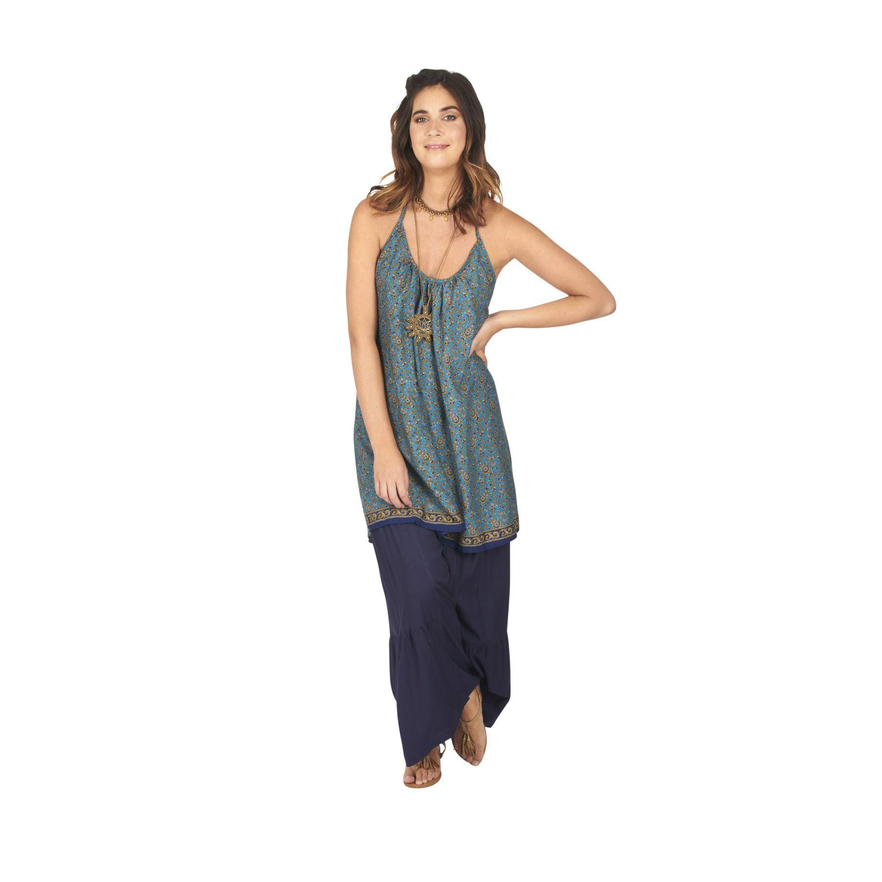 Tunique été pour femme bleue ample et bohème Mélania
