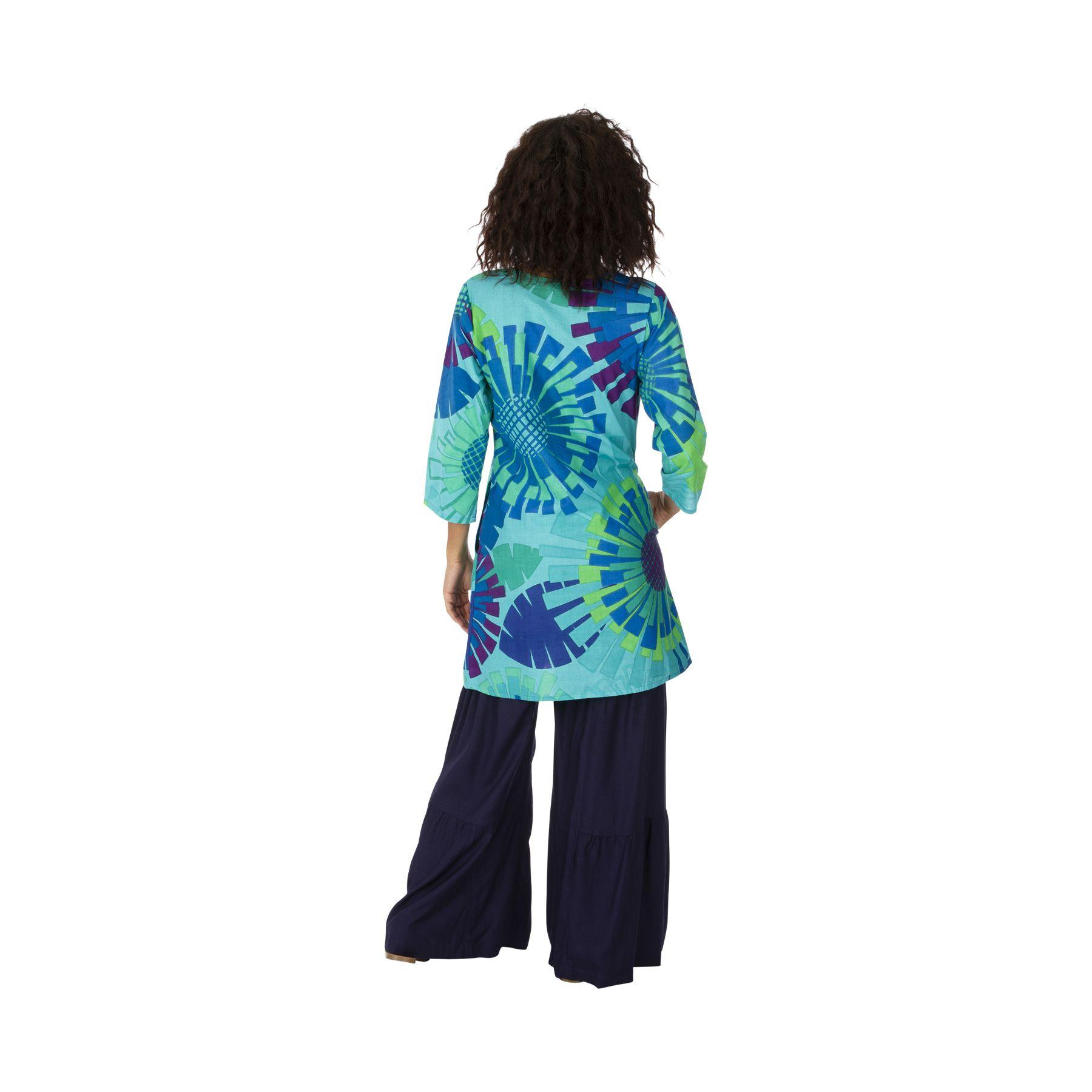 Tunique été pour femme en coton pas chère bleue Eloise