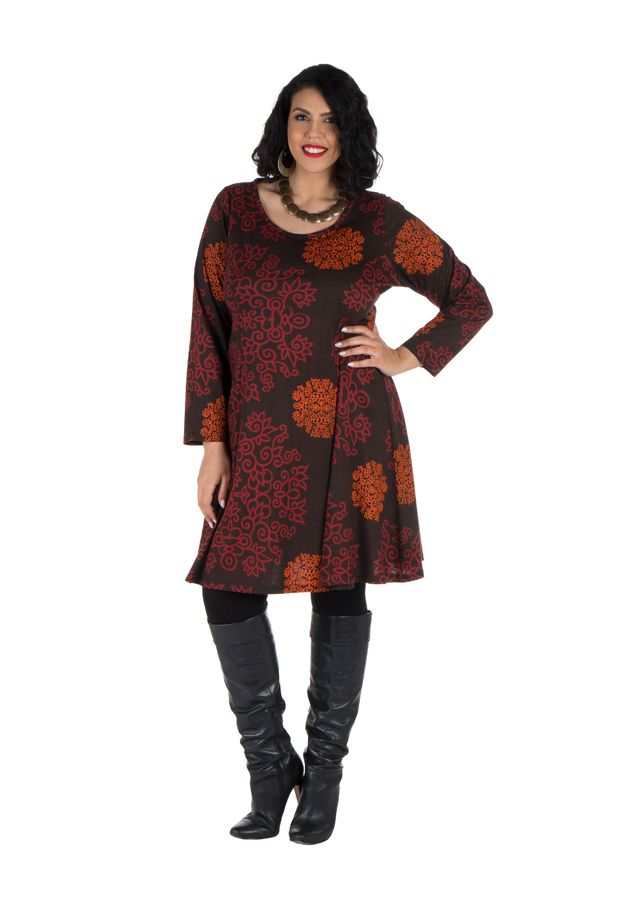 Tunique Ethnique aux couleurs d'automne en Grande taille Lazy 301099