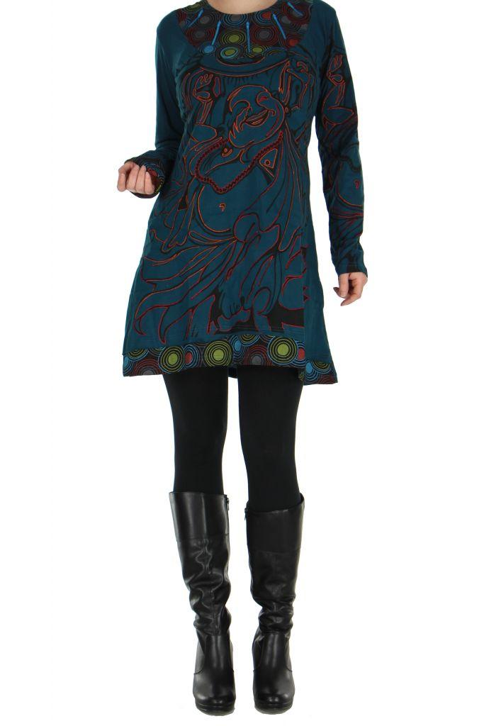 Tunique ethnique bleue Bouddha 266423