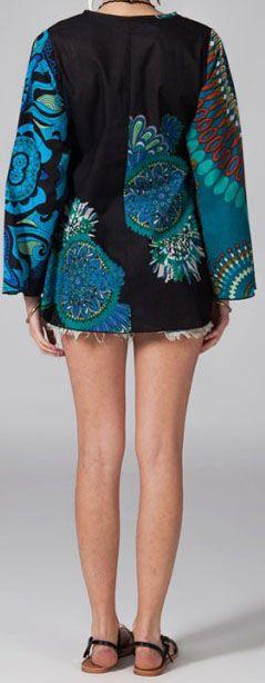 Tunique ethnique bleue manches longues en coton Milla 270749