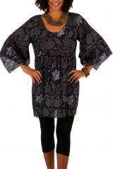 Tunique ethnique-chic noire avec des manches 3/4 évasées Ellia