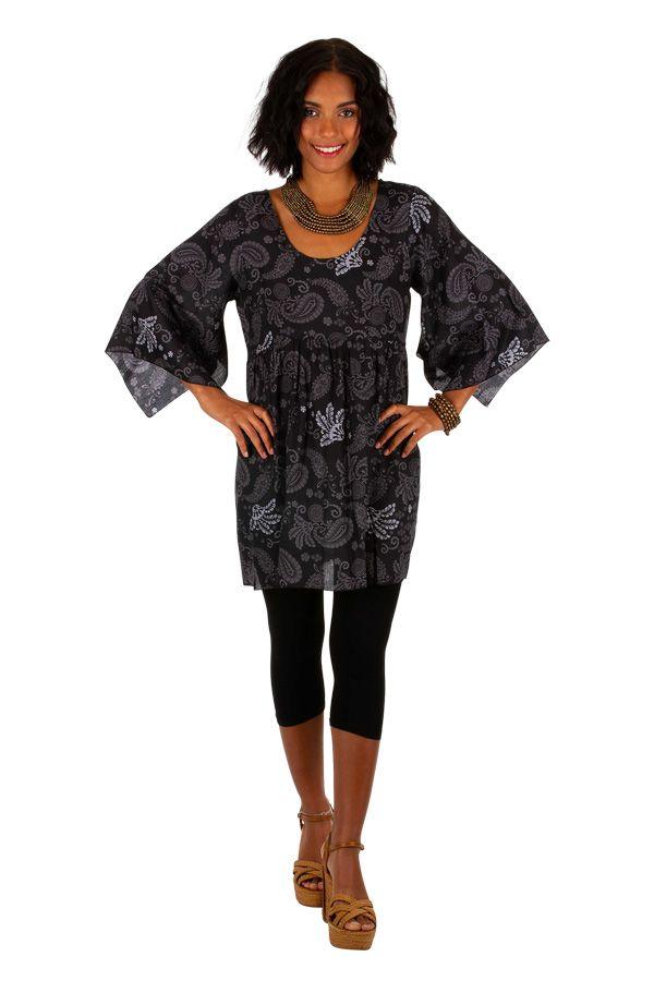 Tunique ethnique-chic noire avec des manches 3/4 évasées Ellia 306476