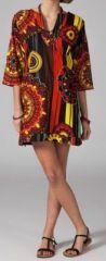 Tunique ethnique et colorée manches 3/4 col V Ammia 12 270597