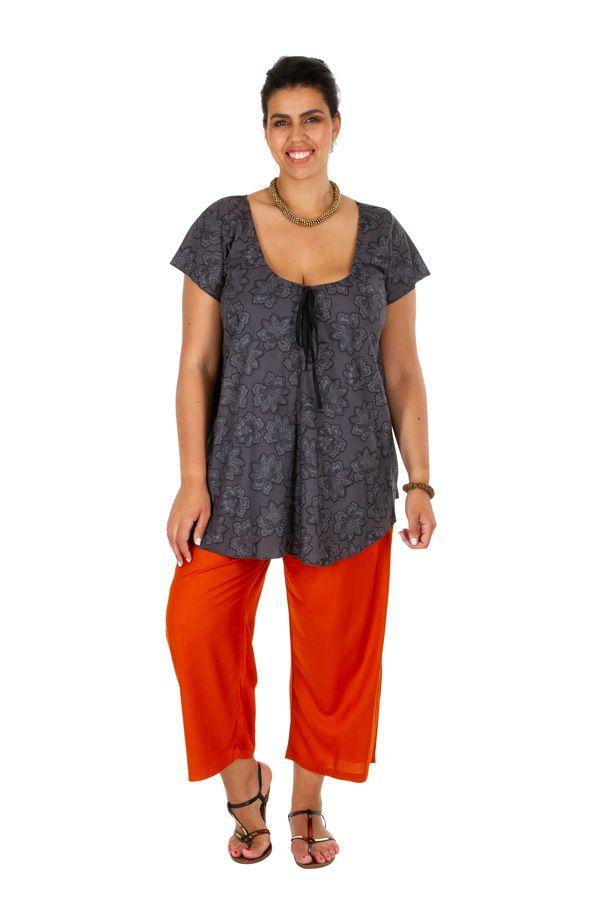 Tunique ethnique femme grande taille de couleur grise Noellie