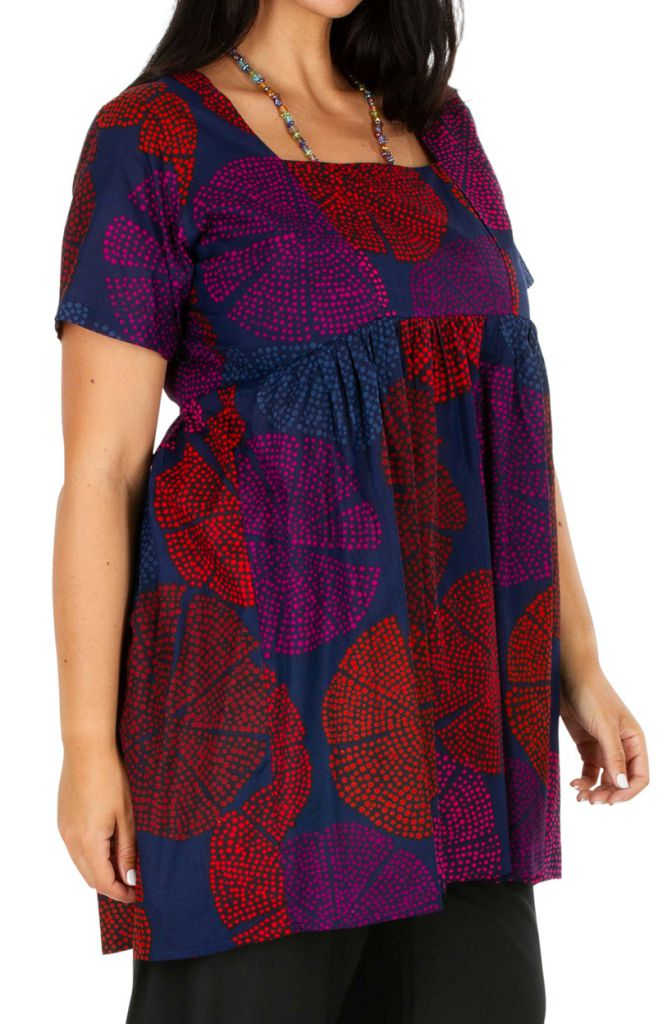 Tunique ethnique grande taille plissée sous la poitrine Sarah