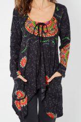 Tunique ethnique manches longues imprimés colorés Manou 287923