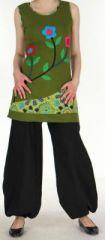Tunique ethnique motifs fleurs sans manches kaki Lunah 270556