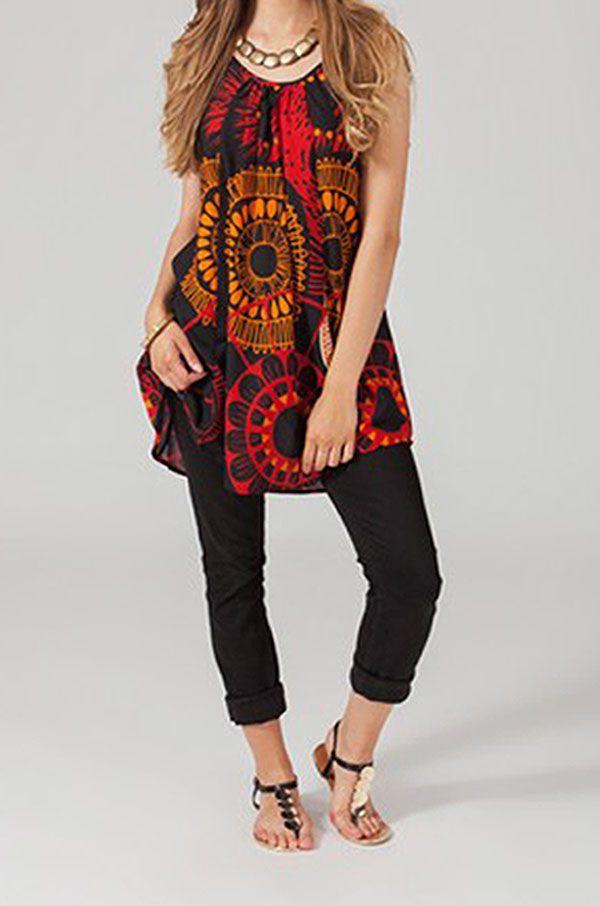 Tunique ethnique noire et rouge Mandarina 318828