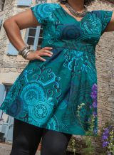 Tunique Ethnique pour femmes rondes Colorée Alpha Bleu Canard 284306