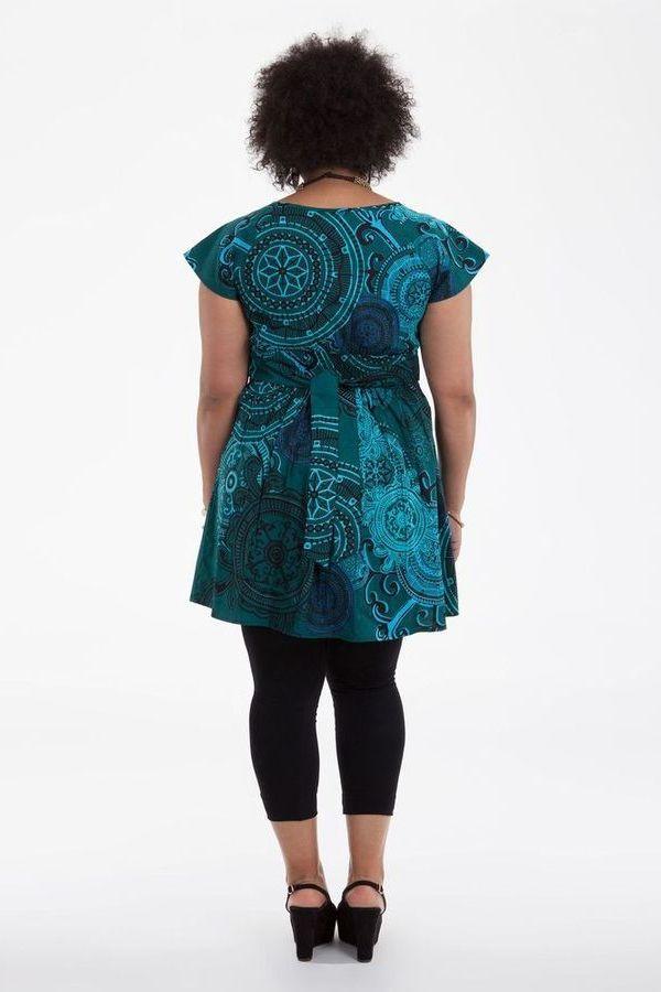 tunique ethnique pour femmes rondes color e alpha bleu canard. Black Bedroom Furniture Sets. Home Design Ideas