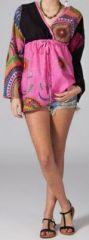 Tunique ethnique rose à manches longues en coton Milla 270744