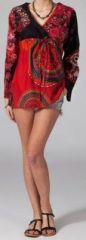 Tunique ethnique rouge à manches longues en coton Milla 270746