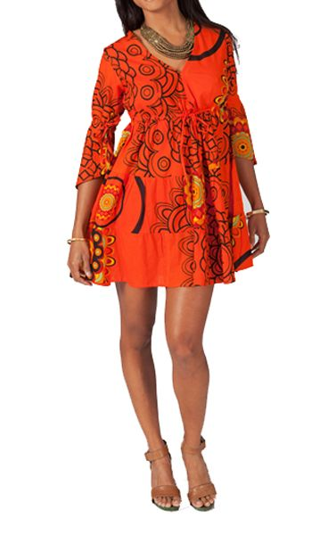 Tunique ethnique tons orange manches 3/4 Janice 267639