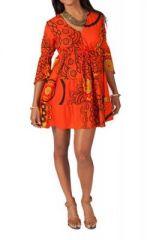 Tunique ethnique tons orange manches 3/4 Janice 267639