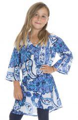 Tunique évasée à manches longues et imprimés fantaisies bleus Zepplin 294987