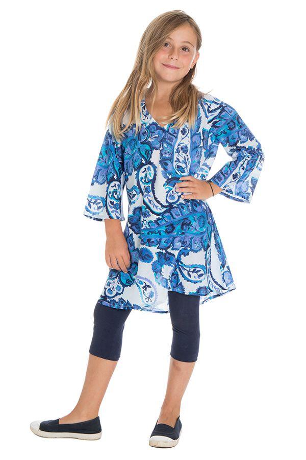 Tunique évasée à manches longues et imprimés fantaisies bleus Zepplin 294988